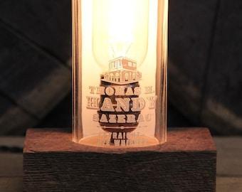 Upcycled Thomas Handy Sazerac Rye Whiskey Bottle Lamp / Whiskey Bottle Light/ Bourbon Bar Decor/ Bourbon Gift / Reclaimed Wood Base