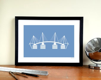 "Manchester City A3 Minimalist Graphic Design Art Print - Etihad Stadium ""Eastlands Approach"""