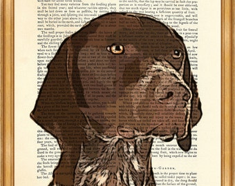 Dog Lover Gift, German Shorthaired Pointer Dictionary Art Print, GSP Dog illustration Portrait Dog Breeds Book Page