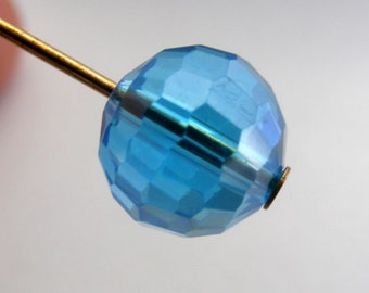 Crystal Beads 10mm Faceted Round Disco Balls Swiss Blue AB (Qty 6) PH-DB10-SB