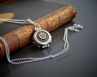 Steampunk Locket Necklace Gears Picture Locket Victorian Round Four Picture Multiple Pictures Cogs Silver Jewellery Gift For Her Woman Girl