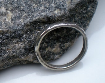 Handforged, Fused and Hammered Argentium Silver Ring