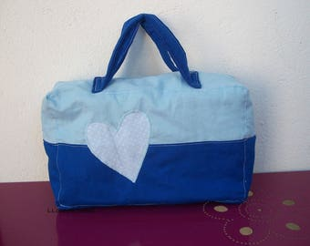 toiletry bag in blue fabric