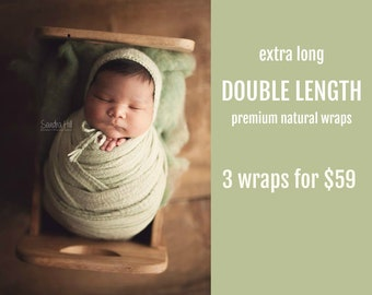 EXTRA LONG Wraps - Pick 3 - Double Length Premium Natural Newborn Wrap - Extra Large Cheesecloth Wrap - Baby Wrap - Photo Prop