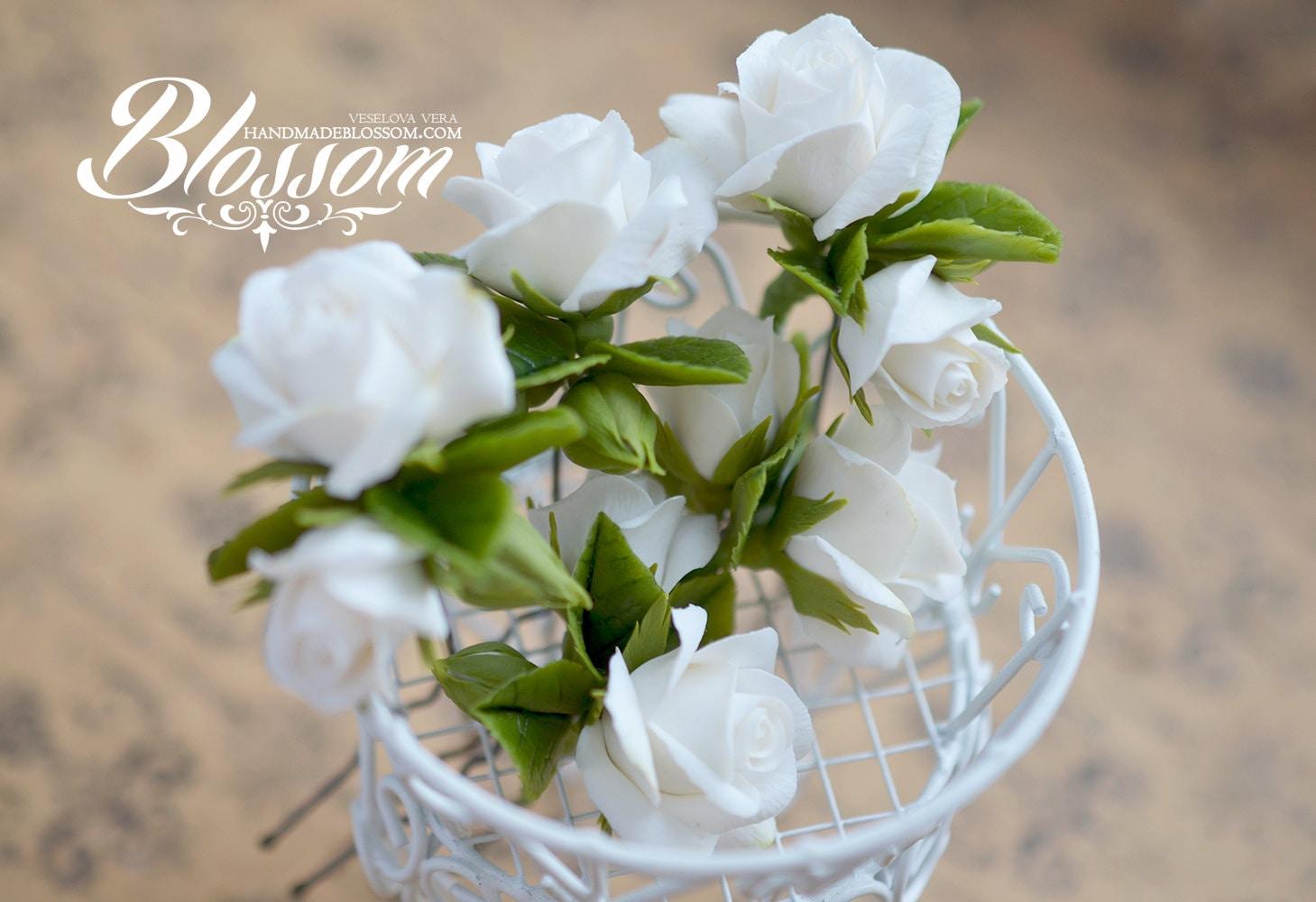 Hairpin White Roses White Fimo Flower Wedding Rose