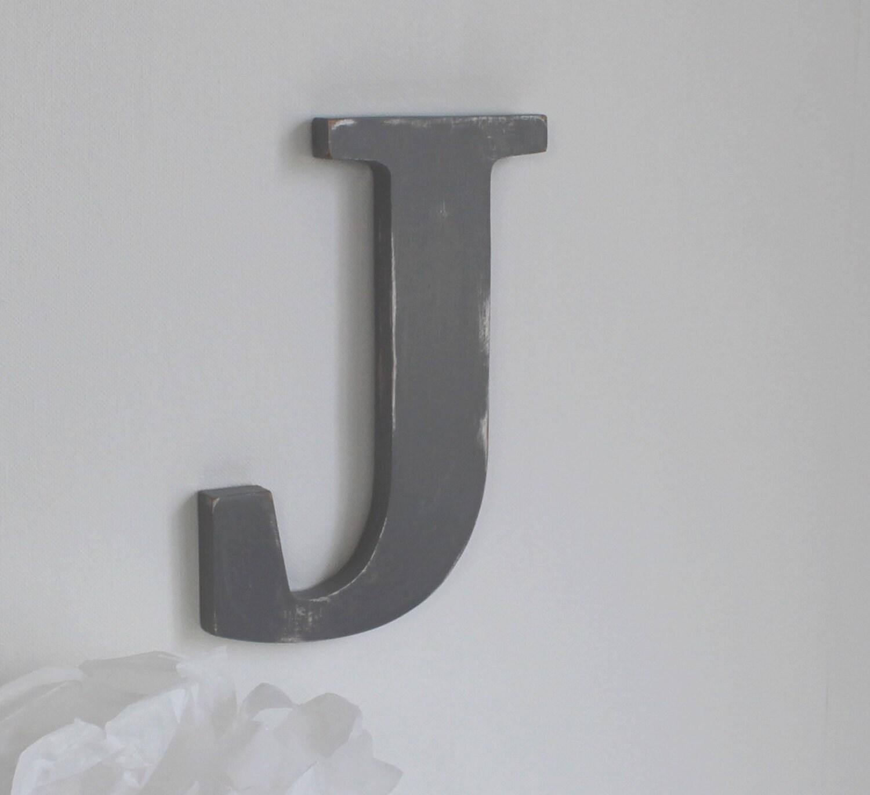 lettre en bois j gris patin e accrocher mariage. Black Bedroom Furniture Sets. Home Design Ideas