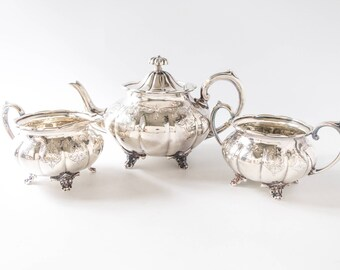 Antique Silver Plate Tea Set Sheffield England LP & Co
