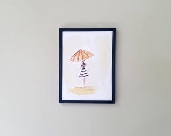 Watercolor Art Print, Girl in the Rain, Girl with Umbrella, Watercolor Painting, Home Decor, Modern Art, Wall Decor, Elegant Art