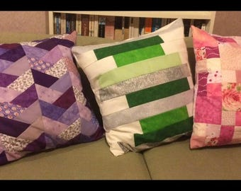 Beautiful bespoke patchwork cushion cover made to order - choose colour, size and style!