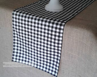 Black Plaid Table Runner Gingham Check Runner Country Farmhouse Kitchen Decor Table Centerpiece Dining Room Table Linens Plaid Decor