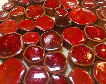 Really Red Ceramic Mosaic Tile Variety Pack Handmade Tiles
