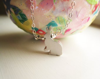Bunny Rabbit Necklace Rabbit Necklace Silver Rabbit Jewelry Nature Woodland Jewelry Gift Idea Under 20 Delicate Simple Necklace Petite Bunny