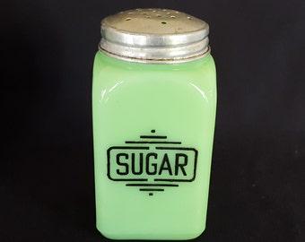 McKee Jadite Glass Large Box Sugar Range Shaker- Vintage - 1930 -Art Deco