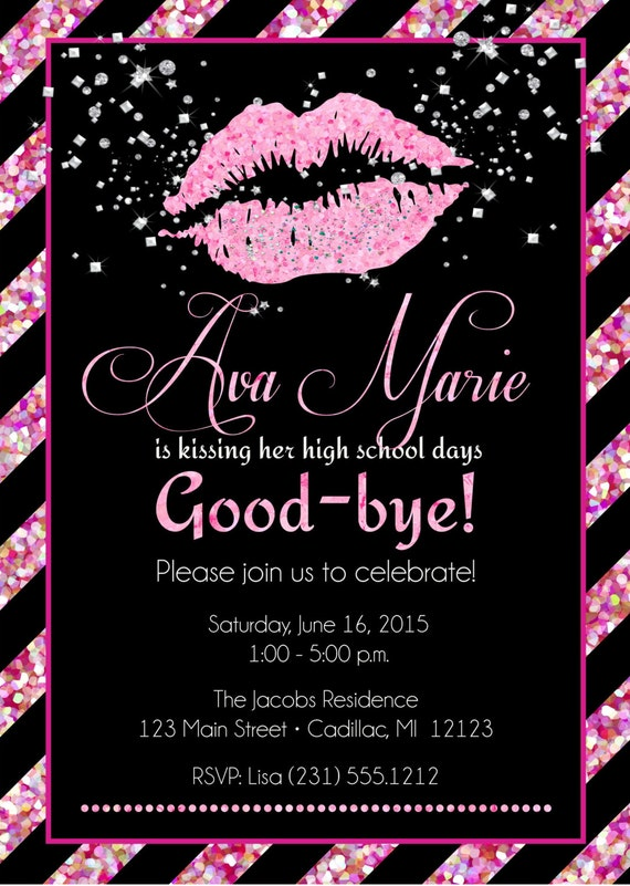 Lips graduation invitation senior graduation invitation filmwisefo