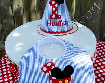 Mickey Mouse Birthday Hat and Bib Set, Personalized