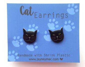 Black Cat Shrink Plastic Earrings