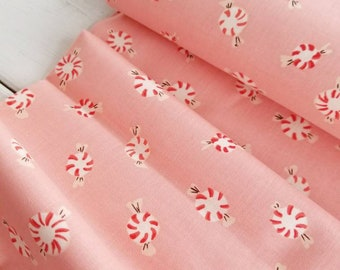Sugarplum - Peppermint Discs(Pink) - Heather Ross - Windham Fabrics - Holiday Fabric