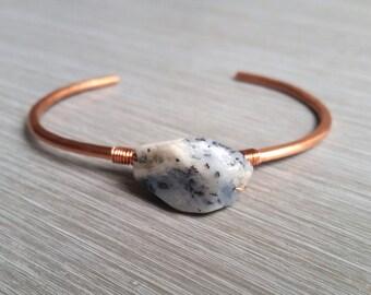 Healing Dalmatian Jasper, Delicate Hammered Copper Cuff, Bangle, Bracelet