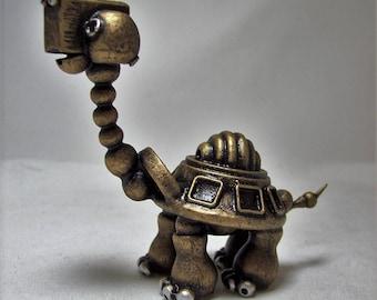 Robot Tortoise Sculpture Handmade Wood Animal Figure Cute Turtle Character Galapagos Tortoise