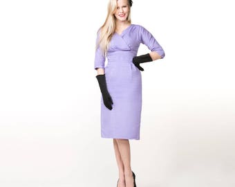 50s Lavender Cotton Sheath Dress with Wrap-Look Bodice XS S