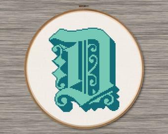 "Letter ""D"" - PDF Cross Stitch Pattern,  Inspired by the font ""Dearest"""