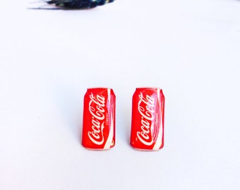 Coca cola can studs / Coca cola earrings / Coca cola studs / Coca cola jewelry / Coke jewellery / Coke stud earrings / Funny gift idea