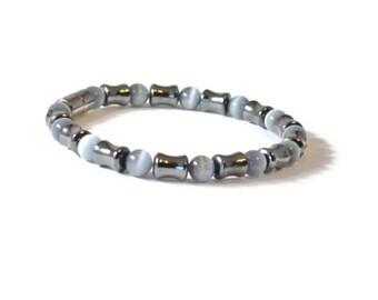 Men's Magnetic Therapy Bracelet, Black Hematite & Grey Cat's Eye Beads, Arthritis Jewelry