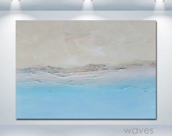 WAVES Modern Minimalist Beachscape Landscape Blue Beige Abstract Original Art Painting Canvas Large Big Textured DIY Room Wall Hanging Decor