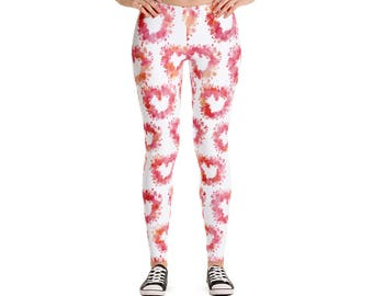 Floral Heart in Pop Girl - Leggings