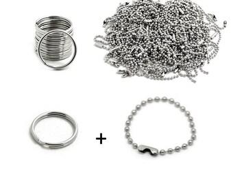 Key Rings Keychain Kit Key Chain Kit Silver Key Rings Ball Chain Key Ring Set BULK Findings DIY Kit Keychain Making Kit 200pcs Wholesale