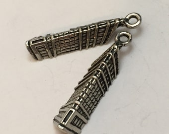 2 pc pewter flat iron building charm, place charm, jewelry supplies