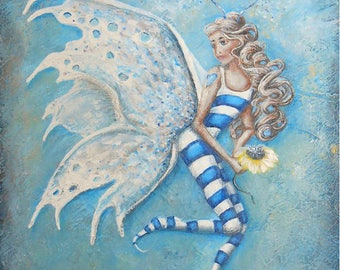Original fairy painting, fairy wall art on canvas, OOAK hand painted fairy art.  Original painting by Nancy Quiaoit at Nancys Fine Art.