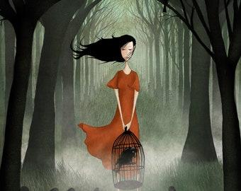 The raven girl - Art print (3 different sizes)