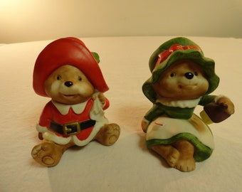 Pair of Homeco Christmas Teddy Bear Figurines