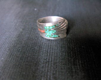 Thunderbird ring southwest jewelry Size 10 Ring Silver turquoise coral vintage Inlay southwest stamped