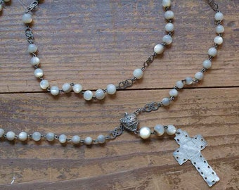 Hand Carved Shell Cross and Beads Rosary Necklace 17.3 inch / 44 cm Crucifix Mother of Pearl Virgin Mary Religious Antique Vintage/ F169