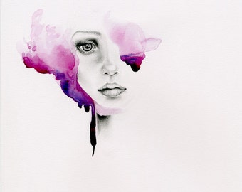 Original Watercolor Painting Purple Painting of a Girl Abstract Purple Hair Beautiful Drawing of a Woman's Face Original Abstract Purple Art