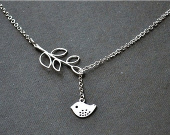 Spring sale Women gift for her Silver lariat Bird Necklace sale bird Lariat necklace Y necklace Silver Bird Jewelry silver necklace