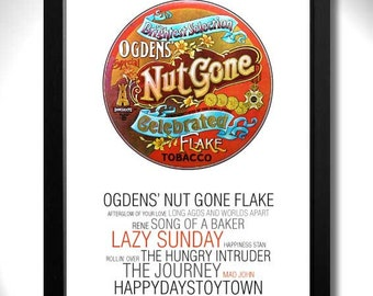 SMALL FACES - Ogdens Nut Gone Flake Album Limited Edition Unframed A4 Art Print with Song Titles