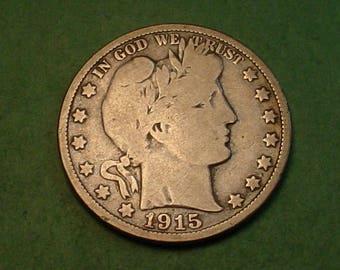 Barber Half Dollar 1915-D VG # ET3747