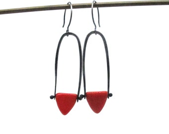 Long Triangle Dangle Earrings - Sterling Silver and Glass - Your Choice of Colors