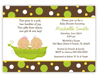 Sweet Peas in a Pod for TWINS ONLY Baby Shower Invitation (You Print)