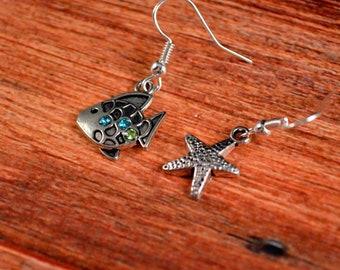 Beach Earrings, Beach Jewelry, Fish Earrings, Fish Jewelry, Sea Jewelry, Sea Earrings, Starfish Jewelry, Starfish Earrings, Ocean Earrings