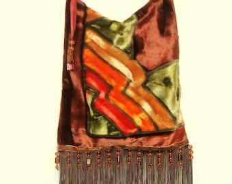Bohemian hippie chic velvet shoulder bag Beaded Fringed bag Brown velvet shoulder bag
