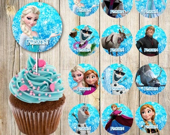 24 Frozen Cupcakes Toppers instant download, Printable Frozen party cupcakes Topper, Frozen toppers Party printable, 2 INCHES