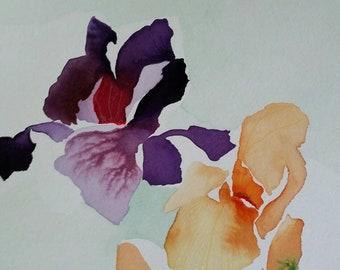"SALE Zen Impression Series "" Iris Rapture "" original one of a kind watercolor."