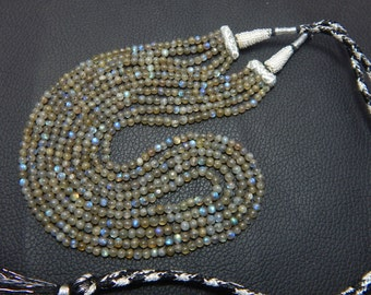 CHRISTMAS SALE 25% OFF 213.55 ct natural labradoite smooth round 3 mm beads necklace 5 strand necklace 16 inch