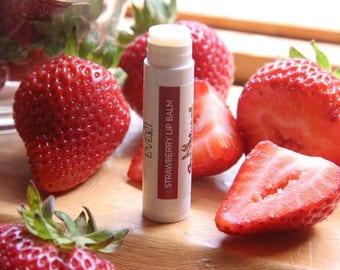 Strawberry lip balm. Sensitive Skin. 100% Natural. Gluten Free. .15OZ