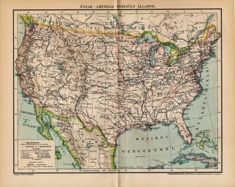 Antique map of United States of America, USA from 1894