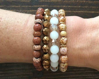 Bracelet Stack, Fall Bracelets, Brown Bracelets, Brown Jewelry, Stack, Beaded Bracelets